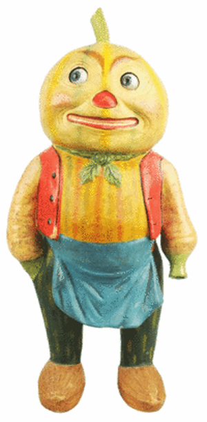 Halloween is more fun with displays like this Vegetable Man. Its age is unknown, but bidders at a Morphy auction in Denver, Pa., thought it was worth $19,550.