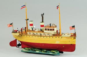 Marklin 'Puritan' ocean liner, handpainted, 20¼ inches, est. $25,000-$30,000. Bertoia Auctions image.