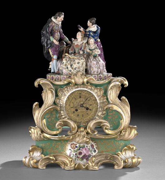 Old Paris factories also produced elaborate porcelain clock cases that went well with American Rococo Revival interiors. This example, attributed to Jacob Petit and signed by the decorator Margaine, sold for $2,952. Courtesy New Orleans Auctions Galleries.