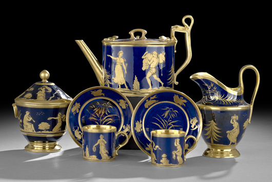 A highlight of the New Orleans Auctions Galleries' fall sale, this exquisite Old Paris seven-piece tea service sold for $3,198. The gilded cobalt-ground set, decorated with classical themes, bore a rare paper label for the porcelain firm Darte Freres. Courtesy New Orleans Auctions Galleries.