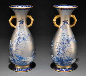 As part of their annual Louisiana Purchase Auction on Nov. 19-20, Neal Auction Co. in New Orleans will offer a pair of 10-inch porcelain platinum ground vases, made for public display (est. $2,500-3,500). Red overglaze script on the base reads 'Exposition Universelle Paris 1878 and Bender No. 959.' Courtesy Neal Auction Co.