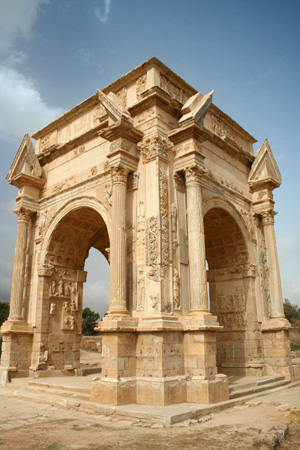 The Arch of Septimius Severus at Leptis Magna, Libya, which was a prominent city of the Roman Empire. Photo by David Gunn.