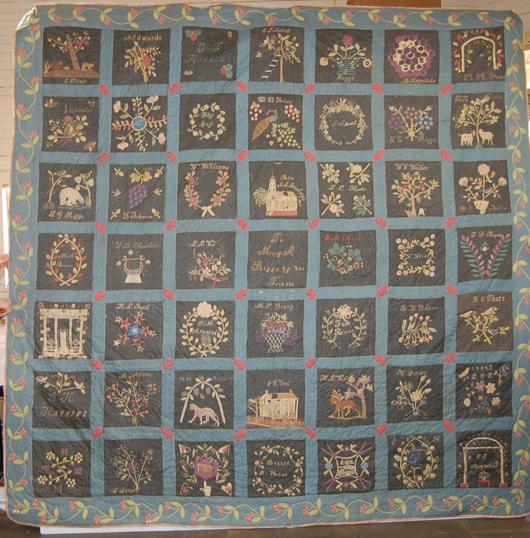 The New Iberia (La.) First United Methodist Church silk quilt upon restoration. Image courtesy of Jessica Hack Textile Restoration.