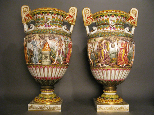 Pair of 29¾-inch, bronze-mounted Capodimonte urns, est. $12,000-$15,000 pair. Sterling Associates image.
