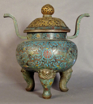 18th-century Qianlong cloisonné censer with kirin lid, 16 inches tall, estimate $6,000-$8,000. Sterling Associates image.