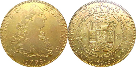 Ex&le of a Spanish gold doubloon st&ed as being minted in 1798. Image is in & Storage unit buyer finds $500000 in Spanish gold coins