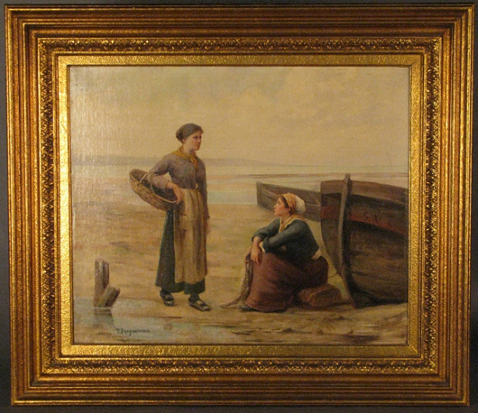 Pietro Fragiacomo (Italian, 1856-1922) signed oil-on-canvas painting of women at shoreline, 20½ x 20 inches, est. $6,000-$8,000. Sterling Associates image.
