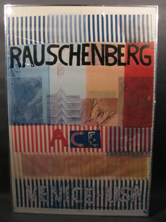 Robert Rauschenberg (American, 1925-2008), 'Ace, November, Venice USA, 1977,' offset lithograph poster on wove paper, est. $2,000-$3,000. Sterling Associates image.