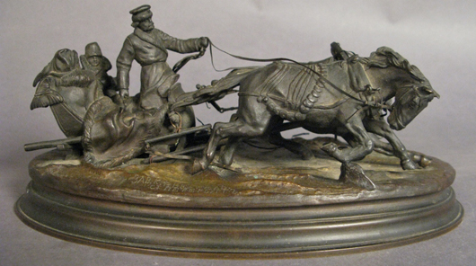 Vasily Yakovlevic Grachev (Russian, 1831-1905), bronze troika scene, 10½ inches long, stamping on base, artist- and foundry-signed in Cyrillic, est. $4,000-$6,000. Sterling Associates image.