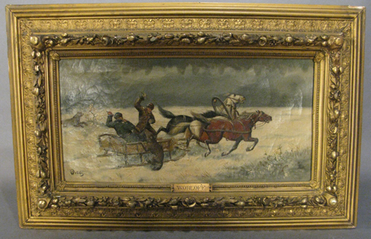Nicholas Wassilievitch Orloff (Russian, 1863-?), winter landscape with troika, 9¾ x 20 inches, est. $2,000-$3,000. Sterling Associates image.