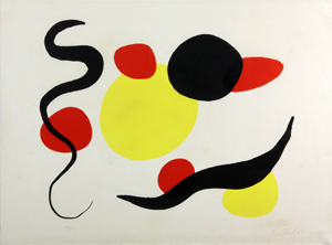 Alexander Calder (American, 1898-1976), abstract, color lithograph, 47/60, early 1950s, 22 x 30 inches, 24 x 31 3/4 inches (frame). Estimate: $15,000-$25,000. Image courtesy of Kaminski Auctions.