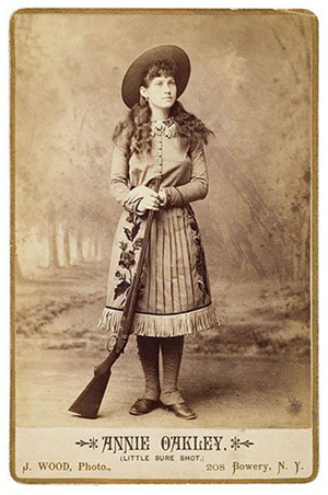 Annie Oakley, 'Little Sure Shot,' is pictured on a cabinet card. It is one of many Annie Oakley items sold by Cowan's Auctions in Cincinnati. Image courtesy of LiveAuctioneers.com Archives and Cowan's Auctions Inc.