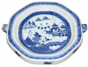 This unusual Chinese export dish was made in the 18th century to keep food warm. The dish's Fitzhugh pattern was used for full sets of dishes. The warming dish is 10 inches in diameter and sold for $211 at a recent DuMouchelles auction in Detroit.