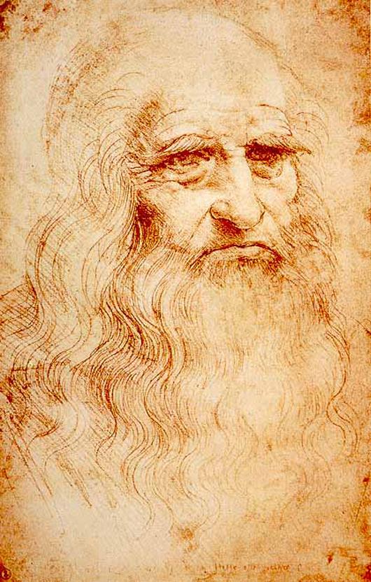 Self-portrait in red chalk of Leonardo da Vinci, circa 1510-1515, Royal Library, Turin, Italy. Image courtesy of Wikimedia Commons