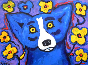 Original oil on canvas painting by George Rodrigue (b. 1944), titled 'Blue Dog is Happy,' artist signed. Image courtesy Crescent City Auction Gallery.