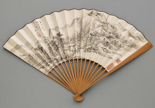 Fächer in der Art von Wang Jian (1598-1677) . Landschaft. Tusche auf Papier, Bambus. Schatzpreis 800 euros ($400). Foto mit freundlicher Genehmigung von Kunsthaus Lempertz.
