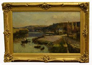 Albert Le Bourg (French, 1849-1928), 'Bords du Seine,' oil on canvas, 1887. Est. $20,000-$30,000. Roland Auctioneers image.