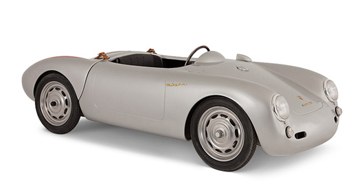 Porsche Spyder battery-operated kids car, Pennewitz design, serial number 5500086, length 62 inches. Estimate $1,000-$2,000. Abell Auctions image.