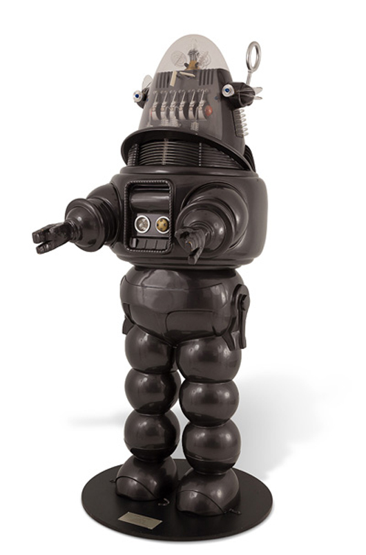Robby the Robot from 'Forbidden Planet' collector's edition, 14/100, 1998 Fred Barton Productions. Scale 1:1, approx. 87 inches high. Estimate $4,000-$6,000. Abell Auctions image.