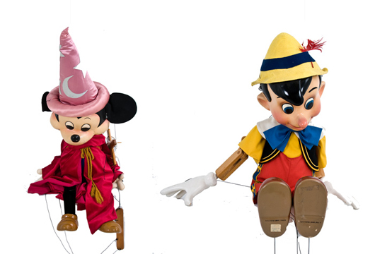 Bob Baker Marionettes' Pinocchio and Mickey Mouse. Collectors Edition for Walt Disney Productions. Pinocchio No. 170/200, Mickey As Sorcerer No. 4/200. Approx. 48 inches tall. Estimate $1,000-$1,500. Abell Auctions image.