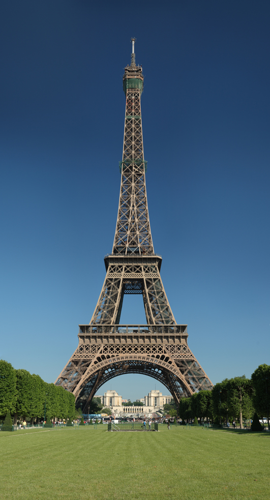 The Eiffel Tower, as seen from the Champ de Mars, was built as the entrance arch to the 1889 World's Fair. Image courtesy of Wikimedia Commons.