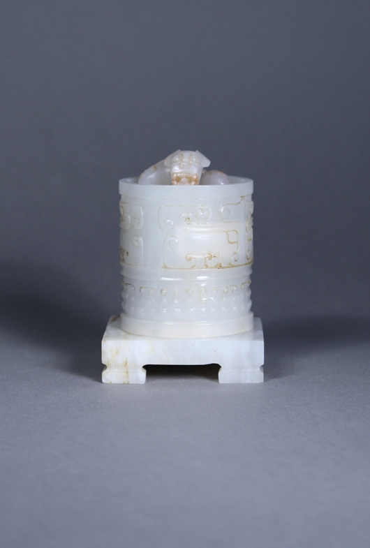 Important 18th-century Qing Dynasty imperial white jade seal realized $7,260. 888 Auctions image.