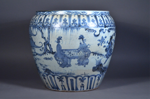 Large 19th-century Chinese jardinière featuring figural courtyard scene of Immortals brought in $9,680. 888 Auctions image.
