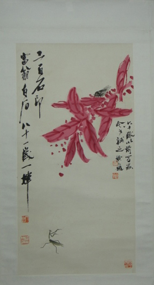 A signed Chinese watercolor on paper painting featuring a cicada and praying mantis nearly doubled its high estimate, soaring to $3,933. 888 Auctions image.
