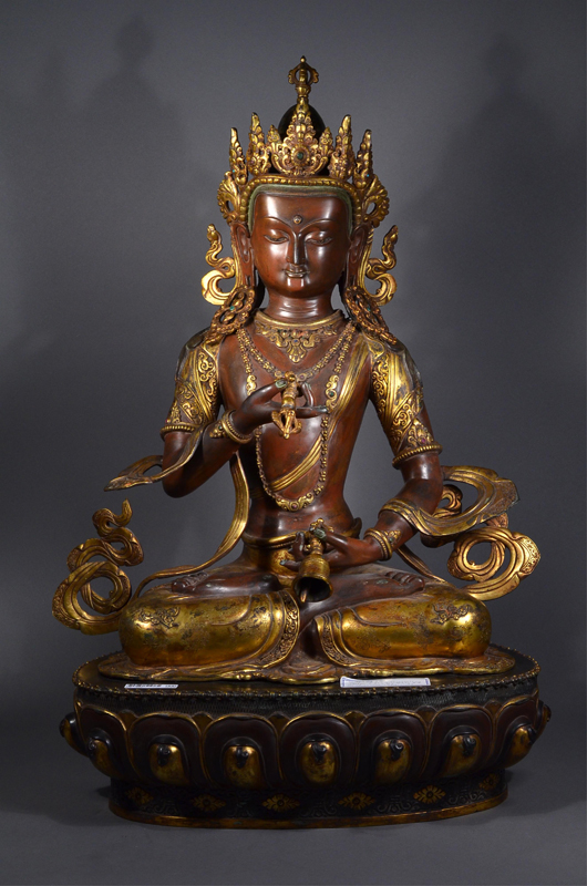 A rare and important Chinese gilt bronze figure of Amitayus realized a hammer price of $33,880. 888 Auctions image.