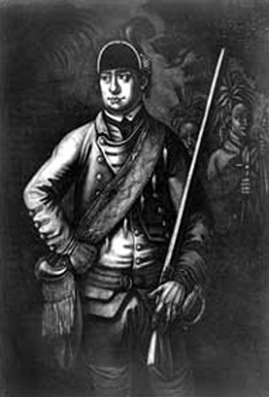 A 19th century artist's interpretation of what Maj. Robert Rogers, leader of Robers' Rangers, looked like. Image courtesy of Wikipedia Commons.