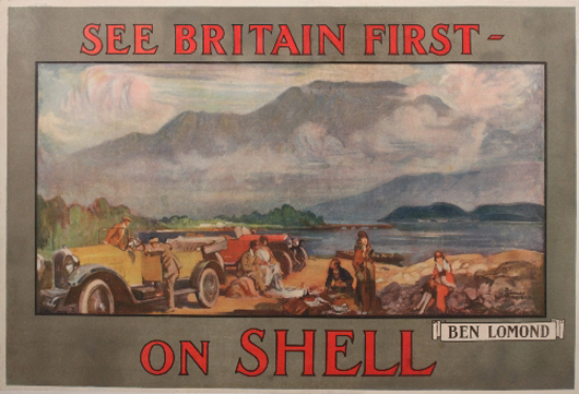 A Shell Oil poster by French artist Charles Fouqueray pictures Ben Lomond, a distinctive mountain in Scotland. The 1925 poster, one in a series by Fouqueray, is estimated to bring more than $1,500. Image courtesy of Onslows Auctioneers.