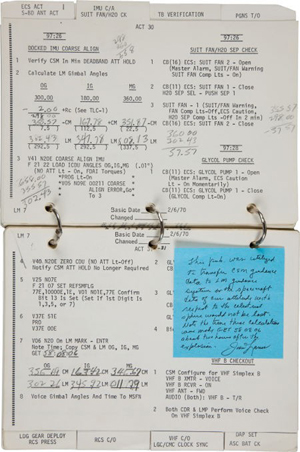 Apollo 13 flown checklist book directly from the personal collection of Mission Commander James Lovell, signed and certified. Image courtesy of Heritage Auctions and LiveAuctioneers.com Archive.