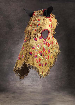 This is an example of a circa-1890s Santee Sioux horse mask. Native-American artifacts of this type are extremely rare. The hide mask is quilled in a leaf and flower pattern with fringed seams and edges. Image courtesy of LiveAuctioneers.com Archive and Brian Lebel's Old West Show & Auction.