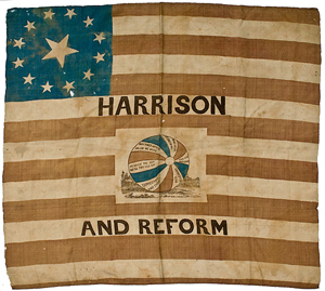 William Henry Harrison campaign flag banner realized $32,400. Image courtesy of Cowan's Auctions Inc.