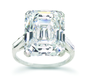 Platinum and 10.56-carat emerald-cut diamond ring sold for $632,000. Image courtesy of Leslie Hindman Auctioneers.