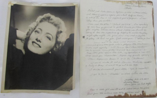 Rue McClanahan personal letter, two-sided in pencil on off-white paper, dated Oct. 28 and 29, 1957, signed 'love, Rue,' about her theater roles and current event, with original 8 x 10 black and white portrait from 1957. Estimate: $400-$600. Image courtesy of Hutter Auction Galleries.