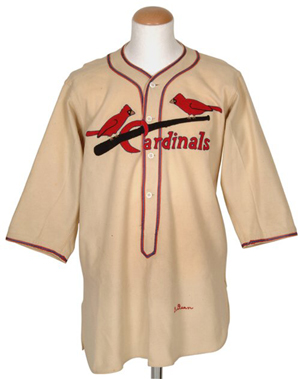An authentic 1936 St. Louis Cardinals baseball jersey game-worn by Hall of Famer Dizzy Dean. Accompanied by impeccable provenance and professional authentication, it sold for $90,000 + buyer's premium at Robert Edward Auctions on May 1, 2004. Image courtesy of LiveAuctioneers.com Archive and Robert Edward Auctions.
