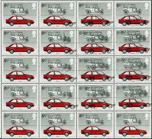 A dozen stamps on this corner marginal block of 20 1982 British Motor Cars 19½p are affected by the 'double gray' printing error. The lot sold at auction of $16,900. Image courtesy of Stanley Gibbons Ltd.