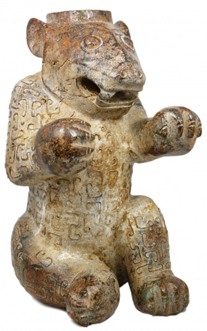 This rare Chinese Eastern Han Dynasty solid nephrite jade bear sold for just over $8 million. Image courtesy of Elite Decorative Arts.