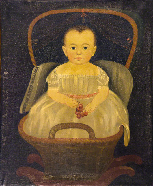 Prior-Hamblin school, 'Baby in a Rocking Basket with Cherries,' circa 1835, oil on canvas, 27 x 22 in. Est. $25,000-$35,000. Image courtesy of Keno Auctions.