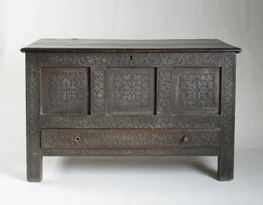 The Drake Family carved and painted joined chest with drawer, foliated vine group attributed to the Deacon John Moore (1614-1677, Windsor, Conn.) Shop tradition. Est. $80,000-$120,000. Image courtesy of Keno Auctions.