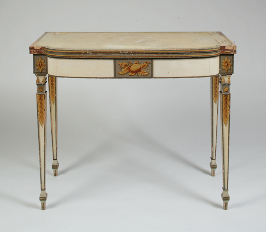 Fancy painted and gilt card table, attributed to Homas Seymour (1771-1848) with decoration attributed to the school of John Ritto Penniman (1782-1841) probably executed by Joshua Holden, Boston, circa 1808-1812. Est. $40,000-$80,000. Image courtesy of Keno Auctions.