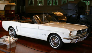 This convertible was the first Mustang to roll off the Ford Motor Co. assembly line in 1964 and is in the collection of The Henry Ford Museum. Image courtesy of Wikimedia Commons.