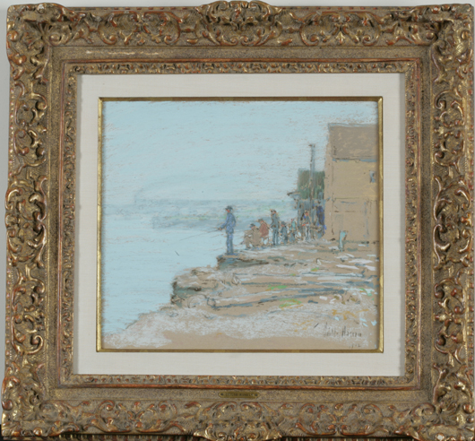 Frederick Childe Hassam (American, 1859-1935), 'Smelt Fishers, Cos Cob, 1902,' signed and dated lower right 'Childe Hassam/1902,' pastel and charcoal over pencil on paper board, 9 5/8 x 10¾ in. Est. $30,000-$50,000. Image courtesy of Keno Auctions.