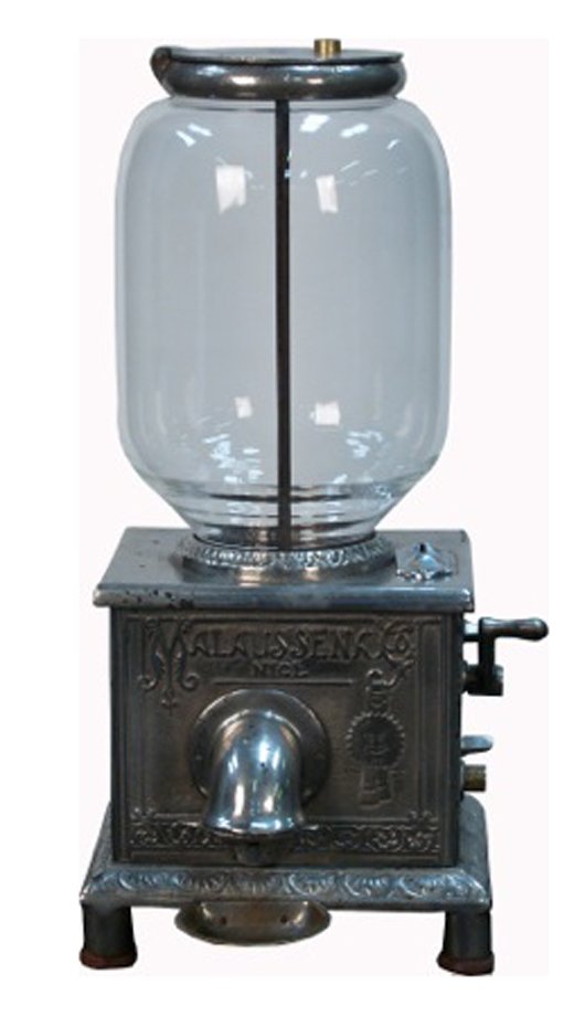 Rare turn-of-the-century 'Malaussena Co.' French peanut machine made by the Mills Novelty Co., one of only two known examples and the only example offered in the United Sates. Works on an American penny. Estimate: $2,600-$26,000. Image courtesy of Victorian Casino Antiques.