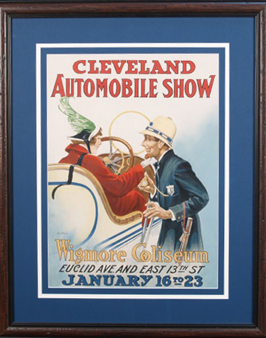 Cleveland Automobile Show Paper Poster, 1915, Otis Lithograph Co. Cleveland, Ohio, perhaps the only one known, in frame, 30 inches x 37 inches. Estimate: $3,000-$30,000. Image courtesy of Victorian Casino Antiques.