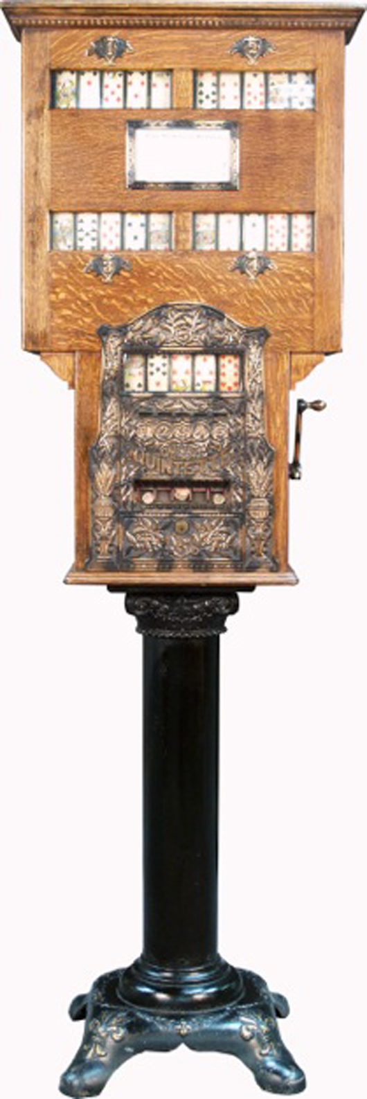 One-cent and five-cent Caille's Quintette, five sets of card reels slot machine, circa 1901, in great condition. Estimate: $16,000-$100,000. Image courtesy of Victorian Casino Antiques.
