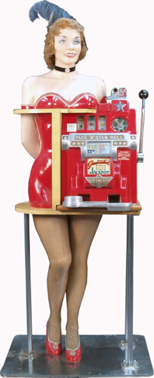 Five-cent Pace '8' All Star Bell Jackpot Slot Machine, circa 1948, cocktail waitress figure. Estimate: $4,000-$20,000. Image courtesy of Victorian Casino Antiques.