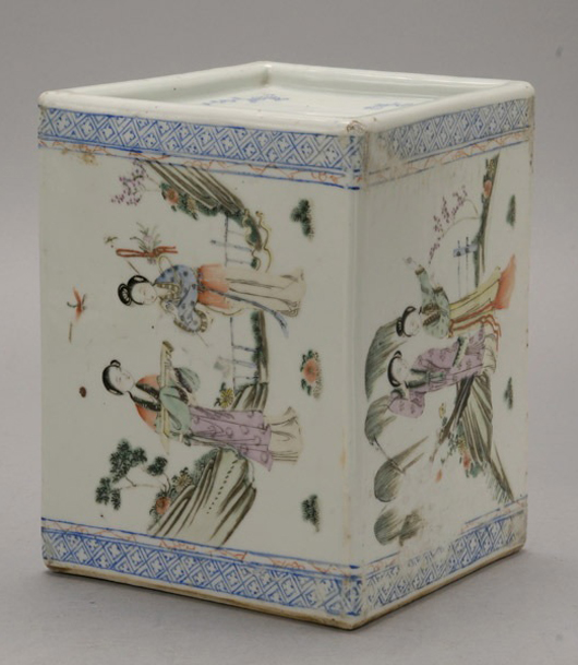 Famille Rose-enameled porcelain pillow. Estimate: $350-$550. Image courtesy of Michaan's Auctions.