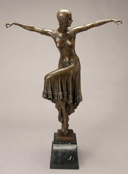 After Demeter H. Chiparus (Romanian 1888-1950), 'Dancer,' bronze sculpture, signed 'D.H. Chiparus.' Estimate: $600-$900. Image courtesy of Michaan's Auctions.